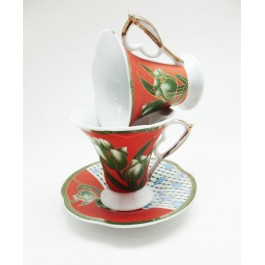 flora handle tea cup glass