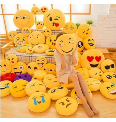 Emoji Yellow Round Cushion Pillow 35CM