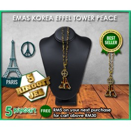 Emas Korea Eiffel Tower Peace ❤Korea Gold Necklace❤